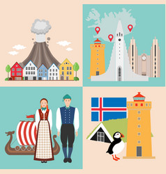 iceland national attractions backgrounds vector image