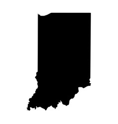 indiana state of usa - solid black silhouette map vector image