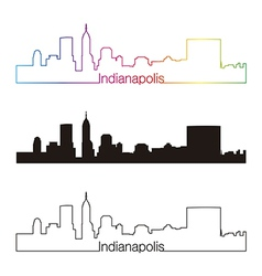 Indianapolis skyline linear style with rainbow vector image