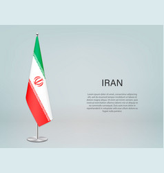 Iran hanging flag on stand template forconference vector