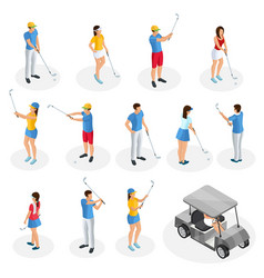 Isometric golf players collection vector