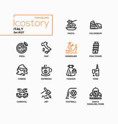 Italy - modern line design style icons set vector