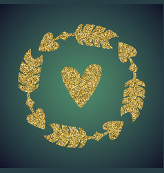 jewelry gold glitter of love heart arrow vector image