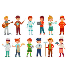 Kids workers child professional uniform vector