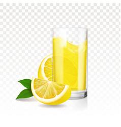 Lemonade glass with pieces lemon vector