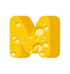 letter m cheese font symbol of cheesy alphabet vector image
