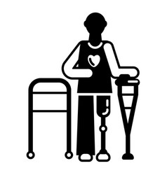 man leg prosthesis icon simple style vector image