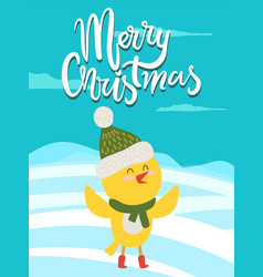 merry christmas greeting card with yellow chicken vector image