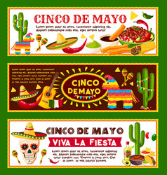 mexican banners for cinco de mayo holiday vector image