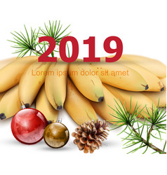 new year 2019 card with bananas watercolor vector image