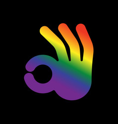 okay hand lgbt sign positive agreement symbol gay vector image