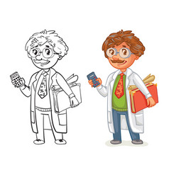 old professor in lab coat vector image