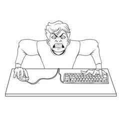 Outline drawing of an evil guy at the computer vector