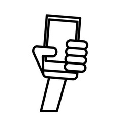outlined hand holding smartphone technology vector image