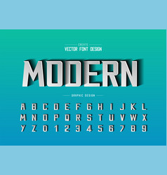 paper cut font and alphabet bold modern typeface vector image