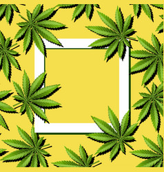 Paper frame with marijuana leaves cannabis leaves vector