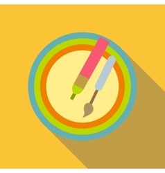 Pencil and brush icon flat style vector