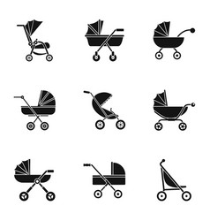 pram icon set simple style vector image