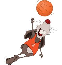 Rabbit the basketball player cartoon vector image