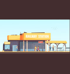 Railway station background vector
