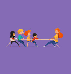 redhead female teacher showing picture to children vector image