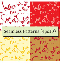 romantic red love and heart patterns backgrounds vector image