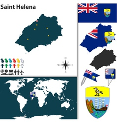 Saint Helena island map world vector image