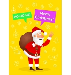 Santa Claus flat character isolated on yellow vector image vector image