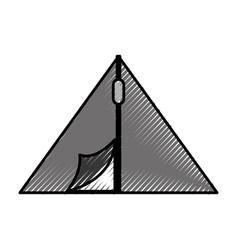 Scribble camping tent cartoon vector