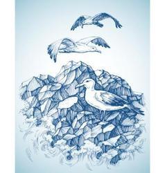 Seagulls over rocky sea shore etch label design vector