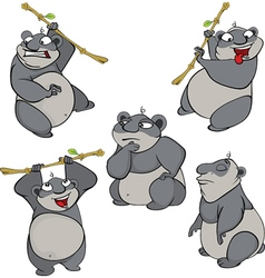 set of cute cartoon pandas vector image