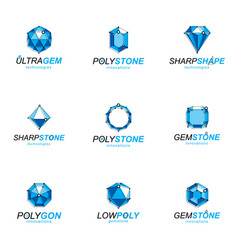 set of perspective technology shapes polygonal vector image