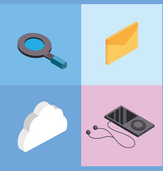 Set technology data service connect icons vector