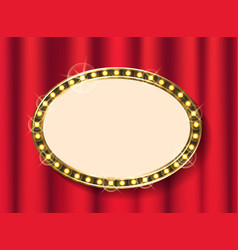 shiny oval signboard glowing frame board vector image