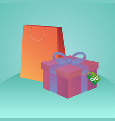 Shopping bags gift box and tag with discount fo vector