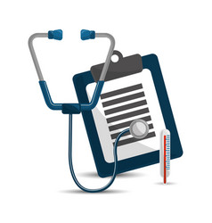 Stethoscope clipboard medicine check and vector