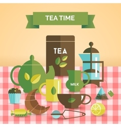 Tea time vintage decorative poster print vector