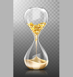 Time is money hourglass with gold coins and sand vector