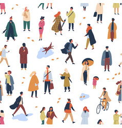 Tiny people in trendy clothes flat seamless vector