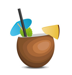 tropic coconut fresh cocktail pina colada vector image