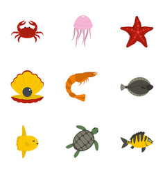 Underwater animal stickers icons set flat style vector