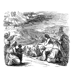Vintage drawing biblical story israelites vector
