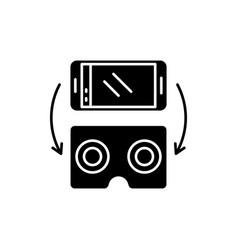 virtual glasses for gadgets black icon vector image