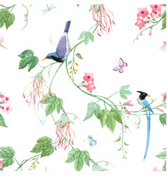 watercolor floral pattern with blue birds vector image