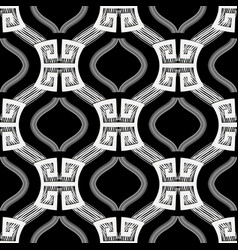 wave lines black and white greek seamless vector image