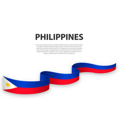 Waving ribbon or banner with flag philippines vector