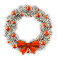 white christmas wreath decorated balls vector image