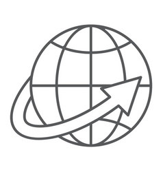 worldwide shipping thin line icon world and vector image