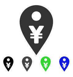 Yen map marker icon vector