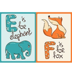 Children Alphabet with Funny Animals Elephant and vector image vector image